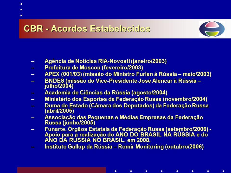 - Corrente Comercial Russo-Brasileira US$ 10 BILHÕES Final de 2010 - Relação de Investimentos Recíprocos US$ 45 – US$ 50 BILHÕES Em 10 anos Metas oper