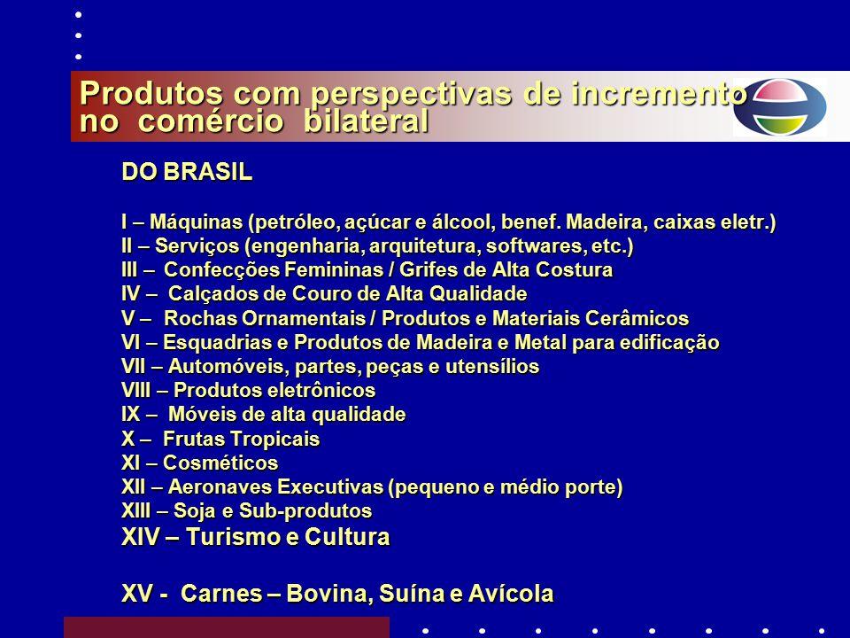 Produtos com perspectivas de incremento no comércio bilateral DO BRASIL I – Máquinas (petróleo, açúcar e álcool, benef.