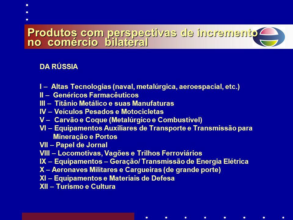 Produtos com perspectivas de incremento no comércio bilateral DO BRASIL I – Máquinas (petróleo, açúcar e álcool, benef. Madeira, caixas eletr.) II – S