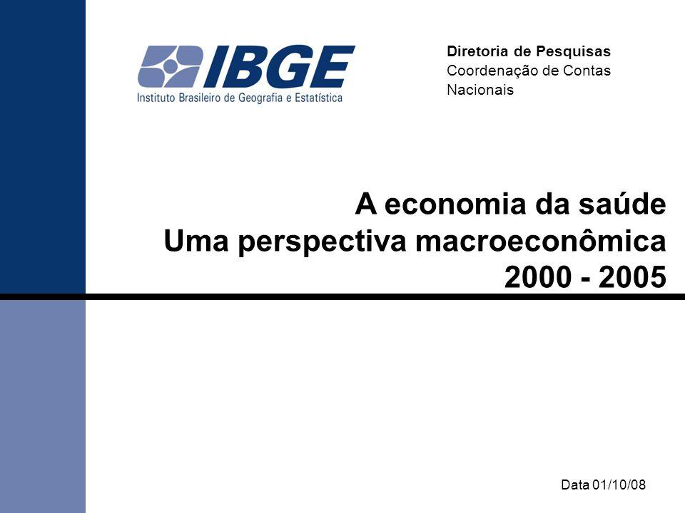Data 01/10/08 Diretoria de Pesquisas Coordenação de Contas Nacionais A economia da saúde Uma perspectiva macroeconômica 2000 - 2005
