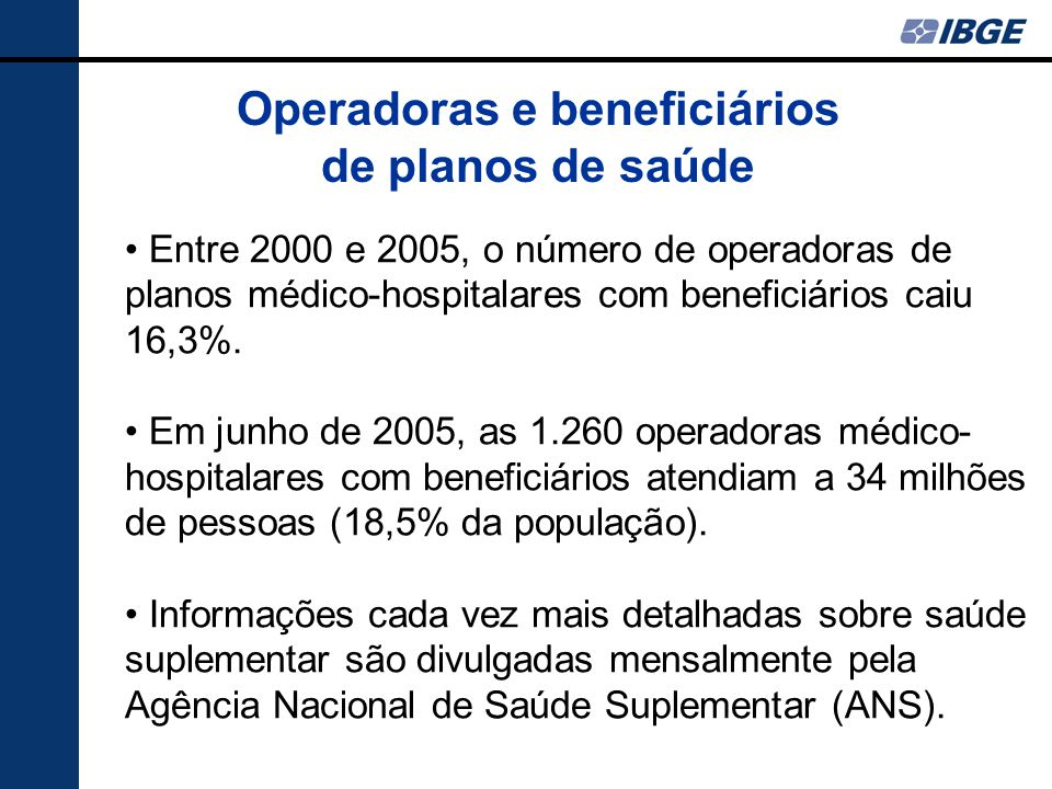 Operadoras e beneficiários de planos de saúde Entre 2000 e 2005, o número de operadoras de planos médico-hospitalares com beneficiários caiu 16,3%. Em