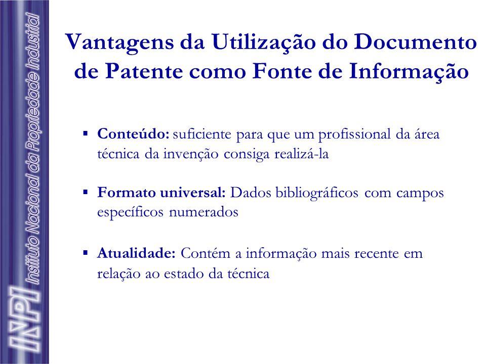  Quantidade de documentos: Crescimento anual aproximado de 600.000 documentos de patentes no mundo; 80% da tecnologia tem divulgação exclusiva por pa