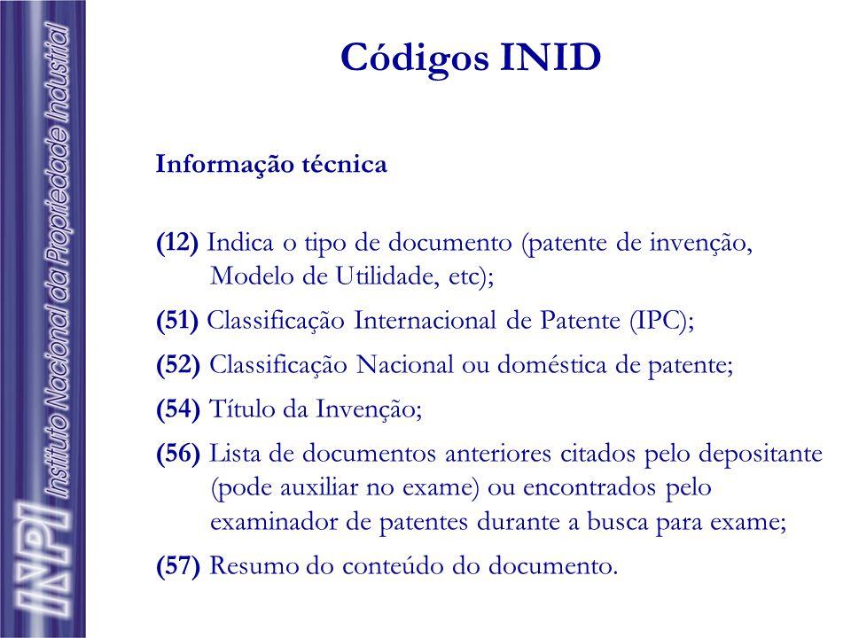 Identificação da origem/propriedade (19) Nome do país ou Organização Regional ou Internacional que publicou o documento de patente; (33) País ou paíse