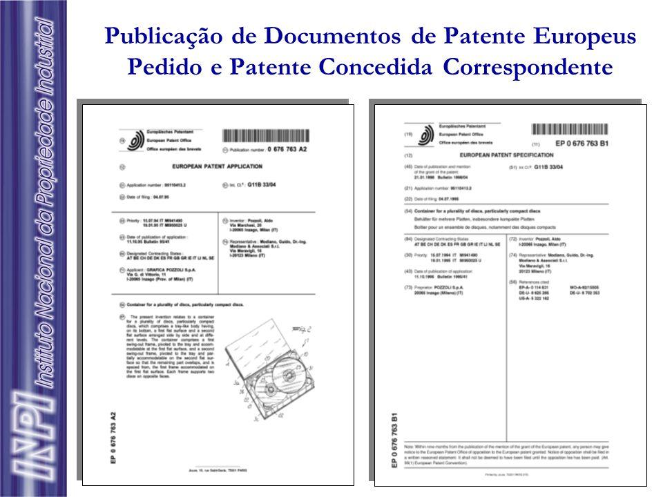 Publicação de Documentos de Patente Americanos Pedido e Patente Concedida Correspondente