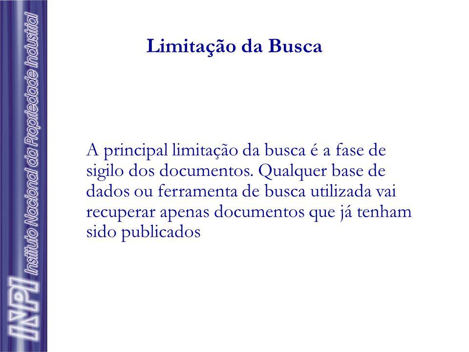 Tipos de Busca Patenteamento – busca por assunto, em documentação nacional e internacional Exploração – busca territorial; por assunto ou família de p