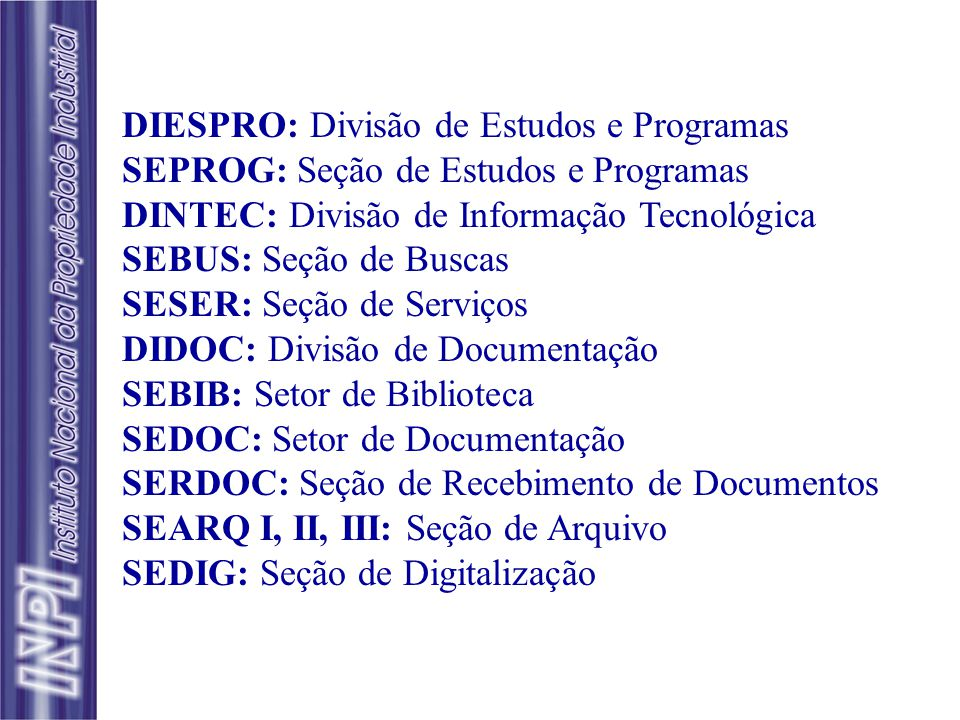 CEDIN Centro de Divulgação, Documentação e Informação Tecnológica DIESPRO DINTEC SEPROG SEBUS SESSER SEDOC DIDOC SEBIB SERDOC SEARQ I, II, III SEDIG E