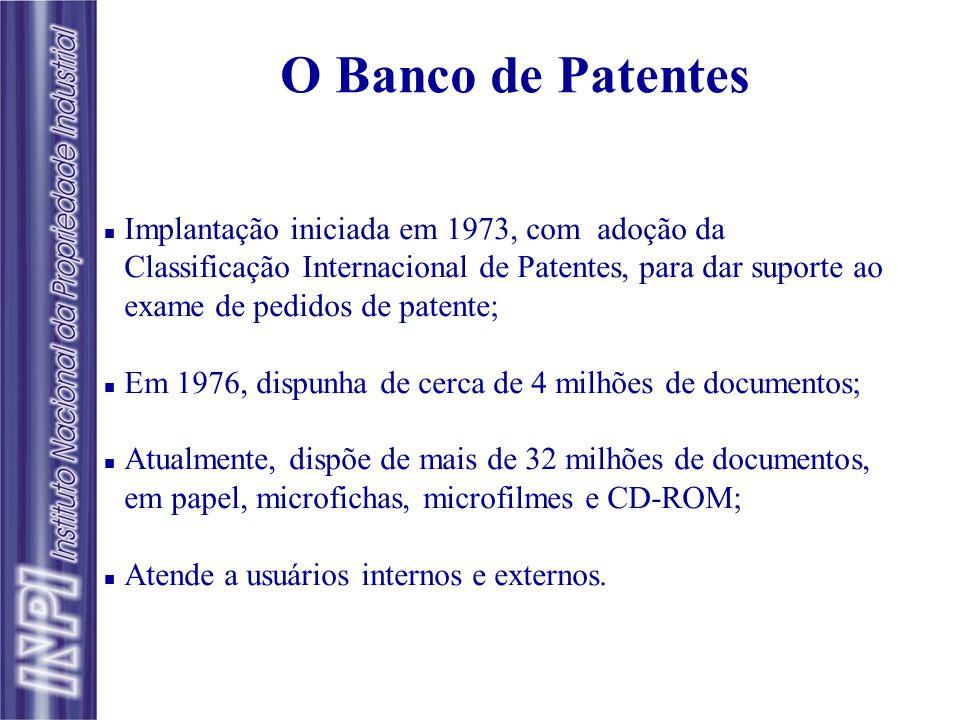 O CENTRO DE DIVULGAÇÃO, DOCUMENTAÇÃO E INFORMAÇÃO TECNOLÓGICA - CEDIN  O CEDIN teve sua implantação iniciada em 1976, compreendendo o Banco de Patent