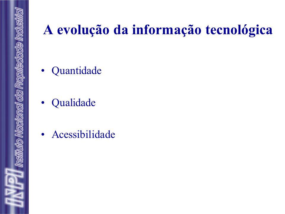 A evolução da informação tecnológica Quantidade Qualidade Acessibilidade