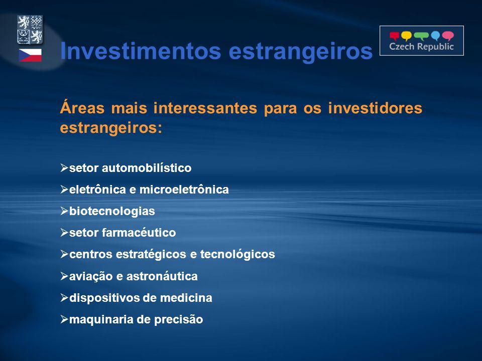 Áreas mais interessantes para os investidores estrangeiros:  setor automobilístico  eletrônica e microeletrônica  biotecnologias  setor farmacéutico  centros estratégicos e tecnológicos  aviação e astronáutica  dispositivos de medicina  maquinaria de precisão Investimentos estrangeiros