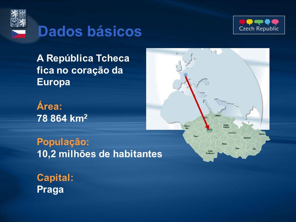 A República Tcheca fica no coração da Europa Área: 78 864 km 2 População: 10,2 milhões de habitantes Capital: Praga Dados básicos