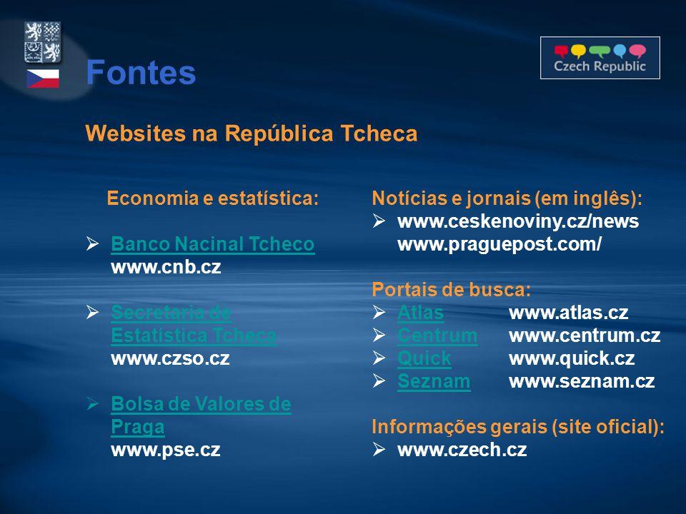 Websites na República Tcheca Economia e estatística:  Banco Nacinal Tcheco www.cnb.cz Banco Nacinal Tcheco  Secretaria de Estatística Tcheca www.czs