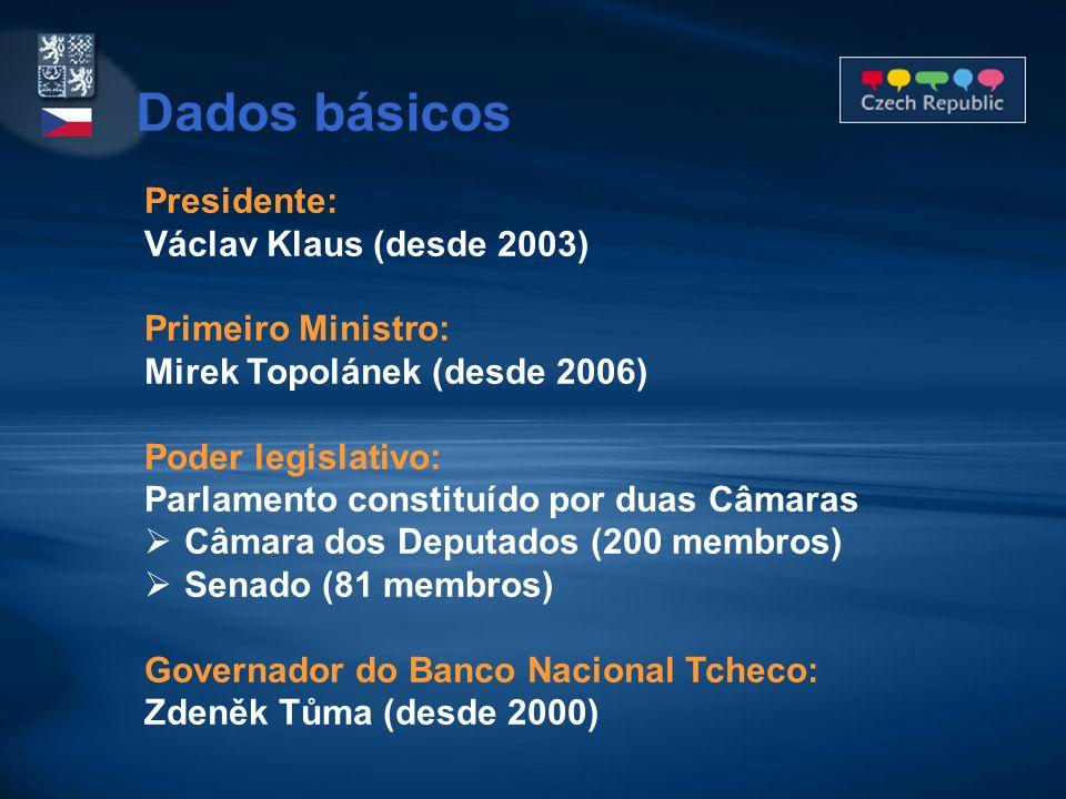 Presidente: Václav Klaus (desde 2003) Primeiro Ministro: Mirek Topolánek (desde 2006) Poder legislativo: Parlamento constituído por duas Câmaras  Câm