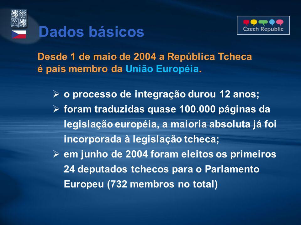 Hora oficial: GMT+1 (+5 em relação ao Brasil) GMT+2 no horário de verão (+3 em relação ao Brasil) Clima: Continental moderado Temperaturas mínimas de -25°C no inverno e máximas de 35°C no verão Moeda: 1 coroa tcheca (CZK) = 100 haléřů (centavos) 1 USD = 21,10 CZK (dezembro/2006) 1 EUR = 27,94 CZK (dezembro/2006)  previsão de adoção do EURO por volta de 2012 Dados básicos