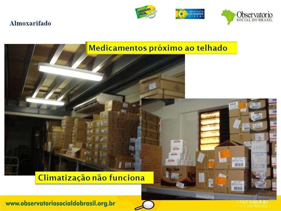 Almoxarifado Medicamentos próximo ao telhado Climatização não funciona