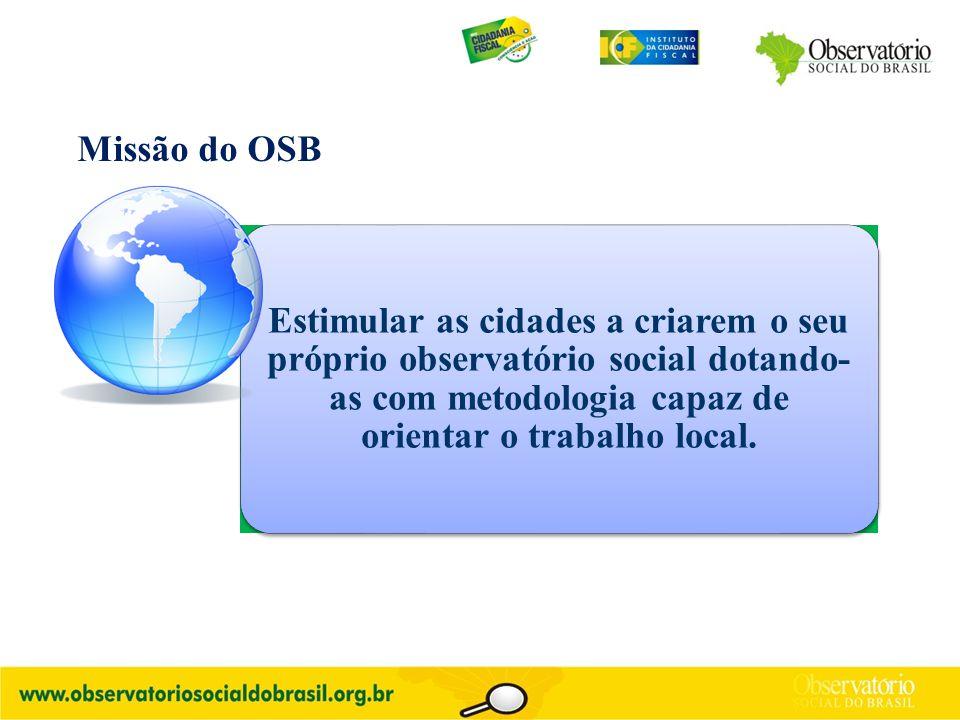 Estimular as cidades a criarem o seu próprio observatório social dotando- as com metodologia capaz de orientar o trabalho local. Missão do OSB