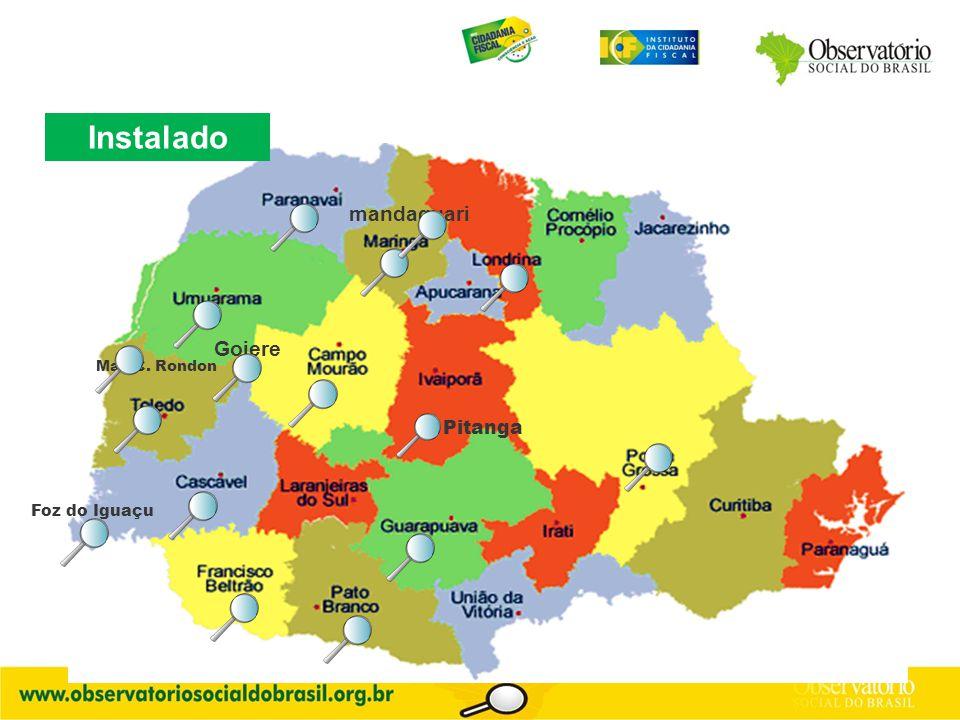 Goiere mandaguari Foz do Iguaçu Instalado Mal. C. Rondon Pitanga