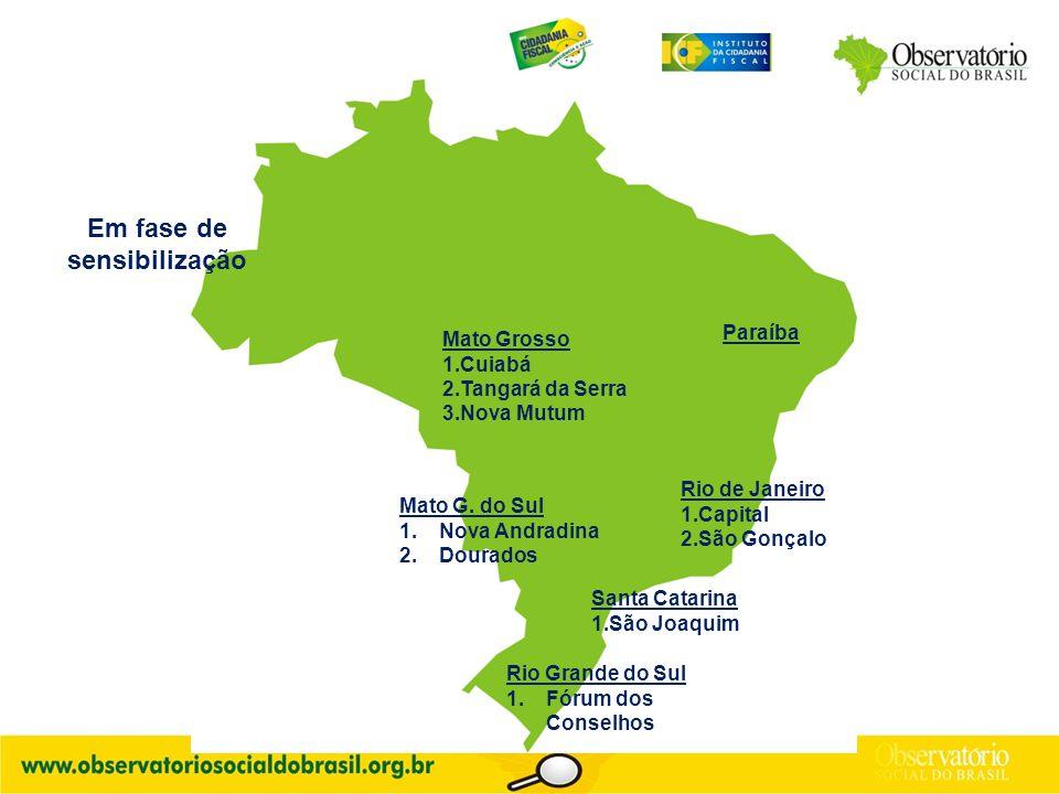 Em fase de sensibilização Rio de Janeiro 1.Capital 2.São Gonçalo Mato G.