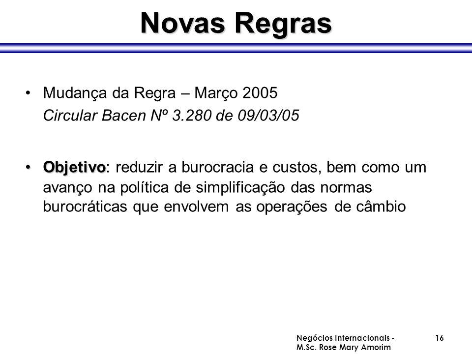 Novas Regras Mudança da Regra – Março 2005 Circular Bacen Nº 3.280 de 09/03/05 ObjetivoObjetivo: reduzir a burocracia e custos, bem como um avanço na