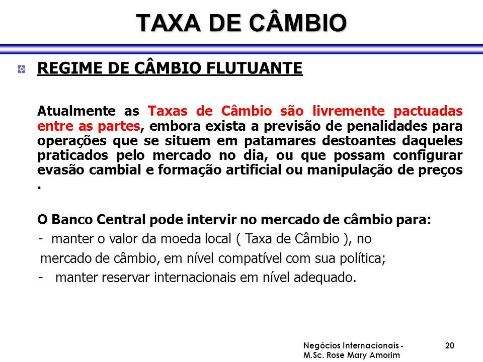 TAXA DE CÂMBIO REGIME DE CÂMBIO FLUTUANTE Atualmente as Taxas de Câmbio são livremente pactuadas entre as partes, embora exista a previsão de penalida