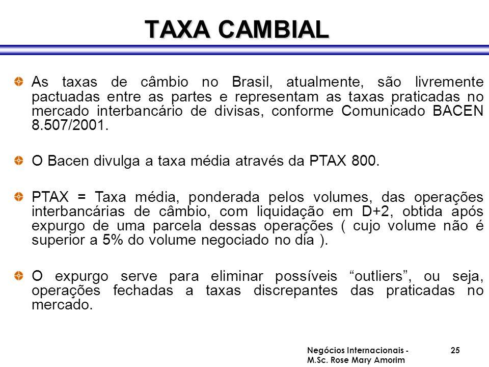 TAXA CAMBIAL As taxas de câmbio no Brasil, atualmente, são livremente pactuadas entre as partes e representam as taxas praticadas no mercado interbanc