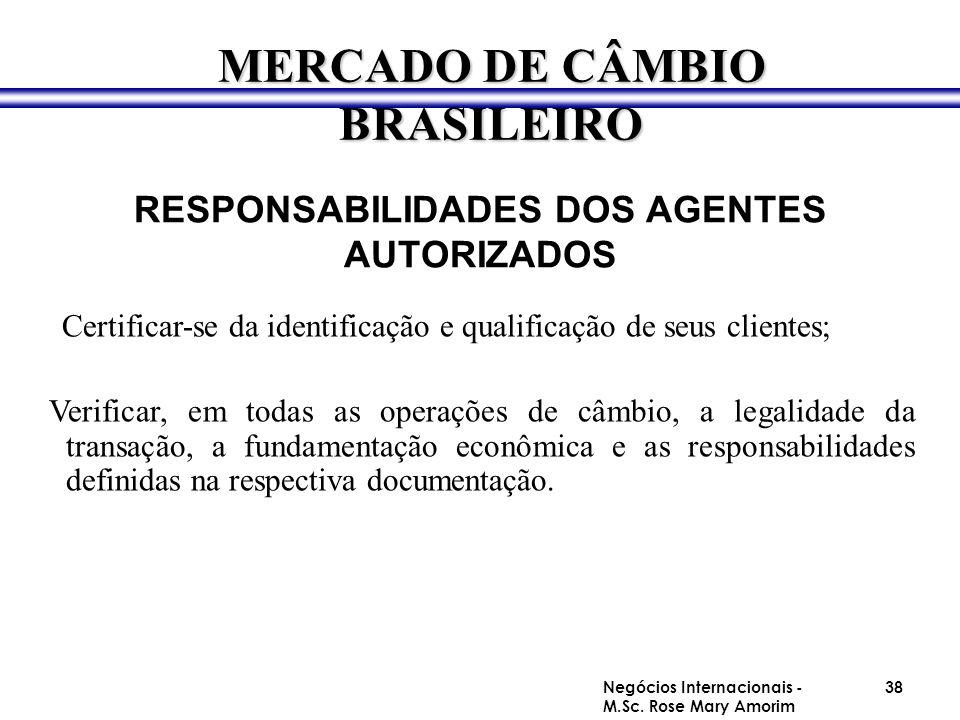 RESPONSABILIDADES DOS AGENTES AUTORIZADOS Certificar-se da identificação e qualificação de seus clientes; Verificar, em todas as operações de câmbio,