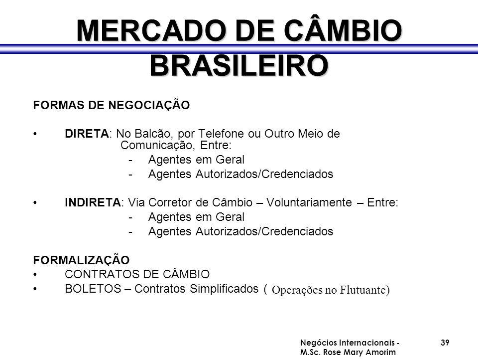 MERCADO DE CÂMBIO BRASILEIRO FORMAS DE NEGOCIAÇÃO DIRETA: No Balcão, por Telefone ou Outro Meio de Comunicação, Entre: -Agentes em Geral -Agentes Auto