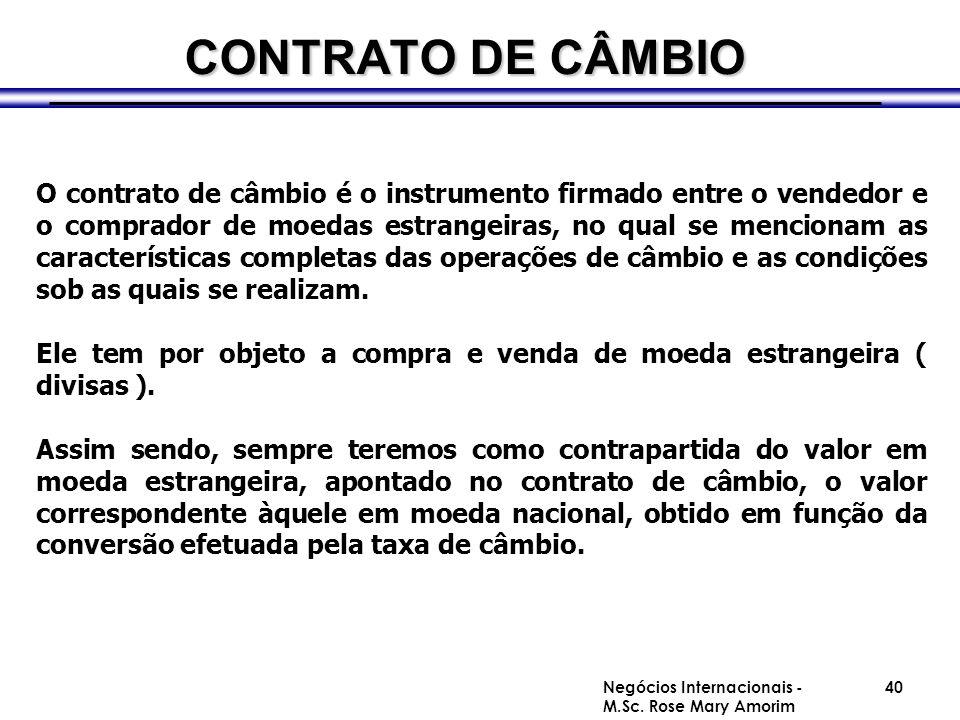 MERCADO DE CÂMBIO BRASILEIRO TIPOS DE CONTRATOS 01-Exportação 02-Importação 03-Transferências Financeiras do Exterior 04-Transferências Financeiras para o Exterior 05-Interbancárias/Arbitragens de Compra 06-Interbancárias/Arbitragens de Venda 07-Alterações de Contratos de Compra 08-Alterações de Contratos de Venda 09-Cancelamento de Contrato de Compra 10-Cancelamento de Contrato de Venda 11/12 – Modelos Adaptados para Baixa na Posição de Câmbio de Contratos de Compra e Venda Negócios Internacionais - M.Sc.