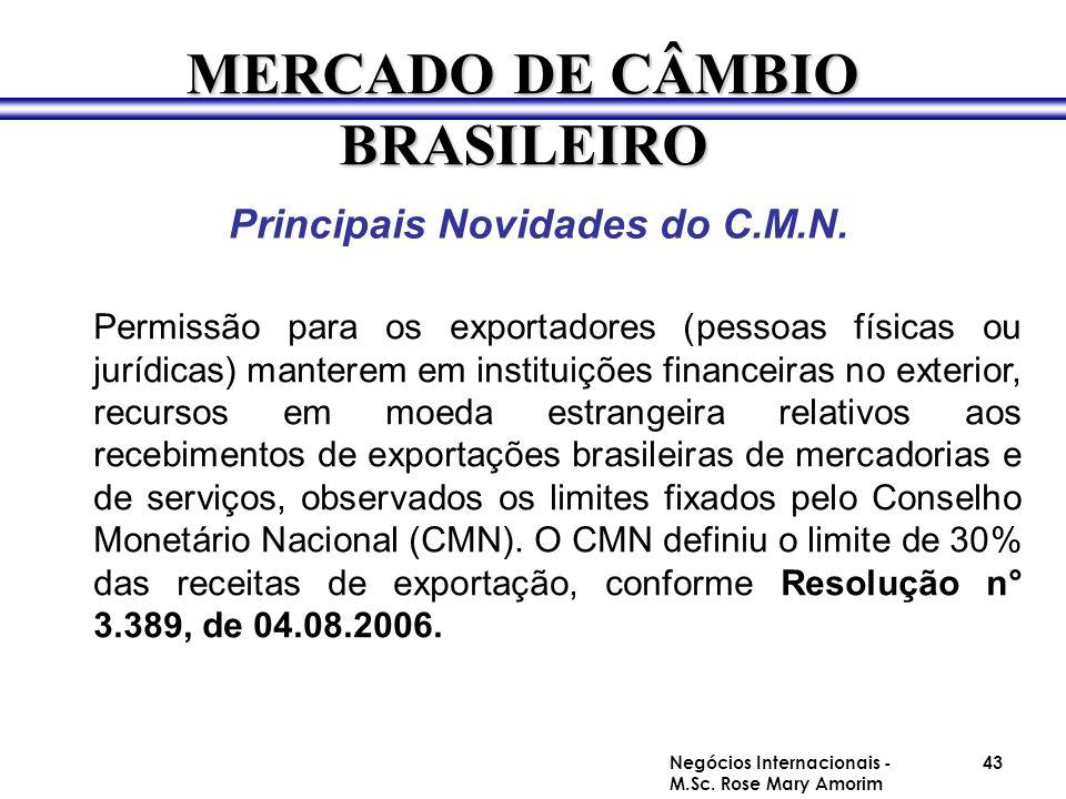 Principais Novidades do C.M.N. Permissão para os exportadores (pessoas físicas ou jurídicas) manterem em instituições financeiras no exterior, recurso