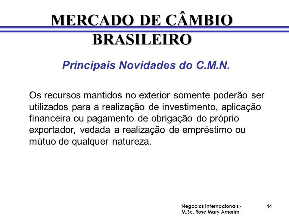 Principais Novidades do C.M.N. MERCADO DE CÂMBIO BRASILEIRO Os recursos mantidos no exterior somente poderão ser utilizados para a realização de inves
