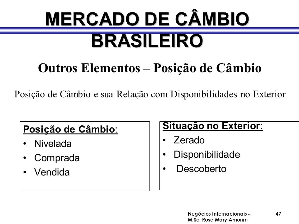 MERCADO DE CÂMBIO BRASILEIRO Posição de Câmbio: Nivelada Comprada Vendida Situação no Exterior: Zerado Disponibilidade Descoberto Outros Elementos – P