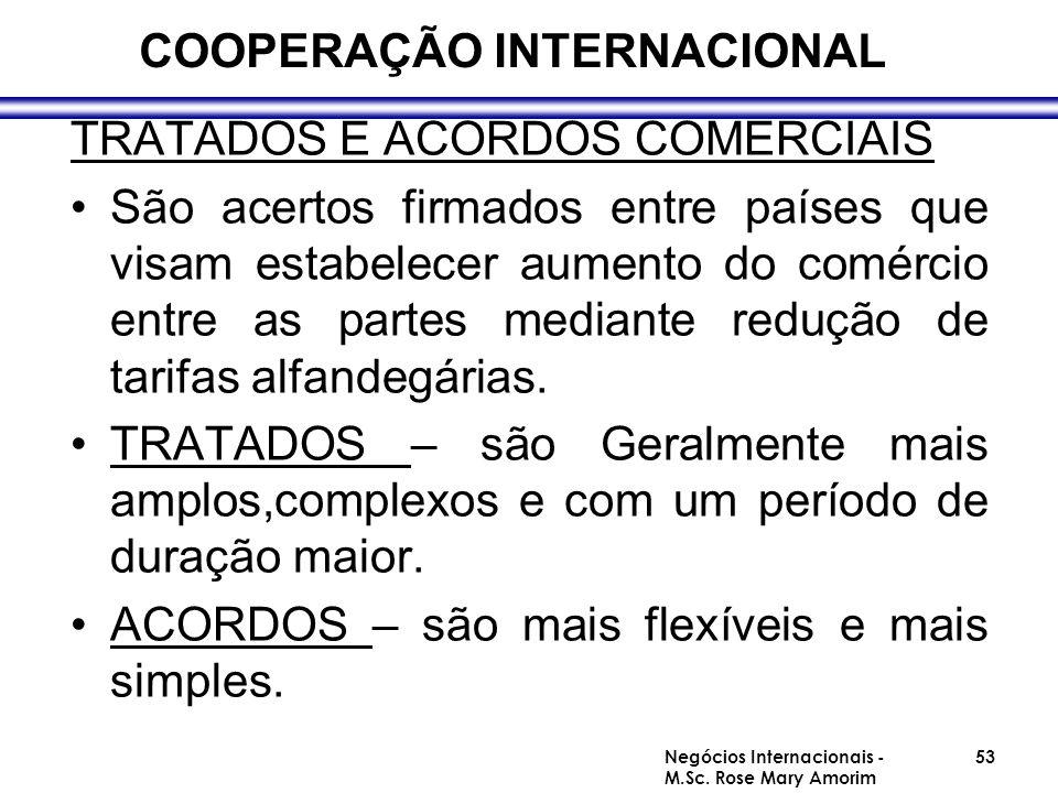 COOPERAÇÃO INTERNACIONAL TRATADOS E ACORDOS COMERCIAIS São acertos firmados entre países que visam estabelecer aumento do comércio entre as partes med