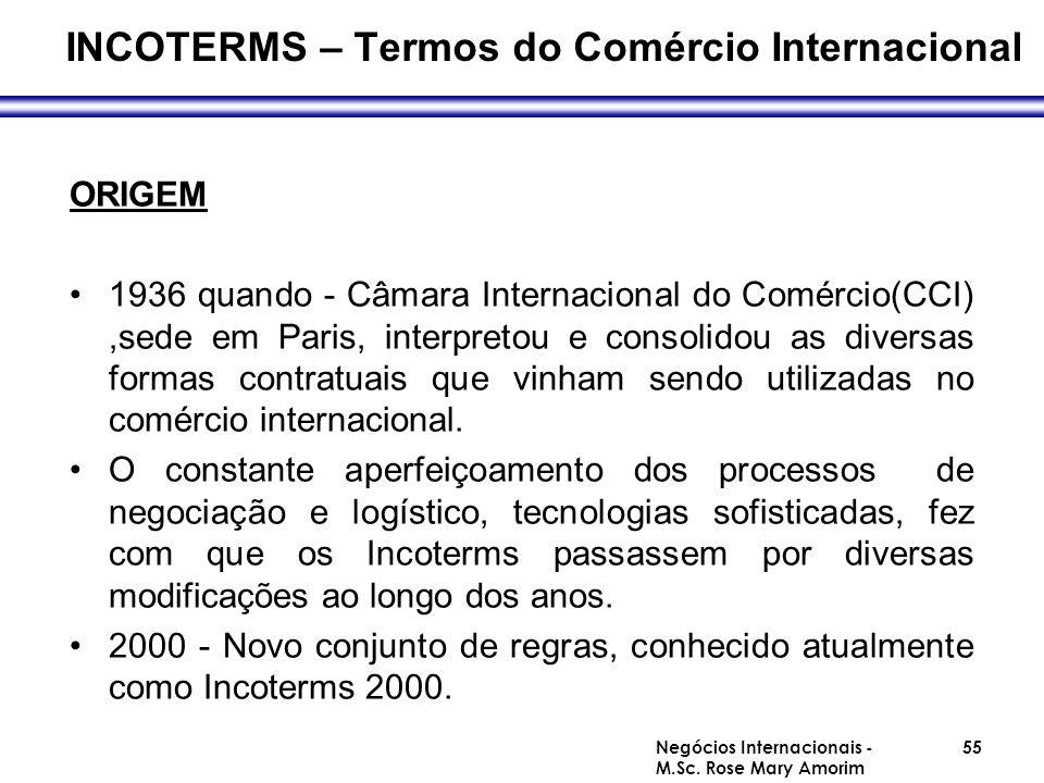 INCOTERMS – Termos do Comércio Internacional ORIGEM 1936 quando - Câmara Internacional do Comércio(CCI),sede em Paris, interpretou e consolidou as div