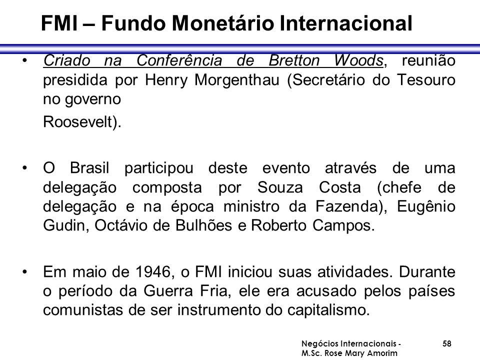 FMI – Fundo Monetário Internacional Criado na Conferência de Bretton Woods, reunião presidida por Henry Morgenthau (Secretário do Tesouro no governo R