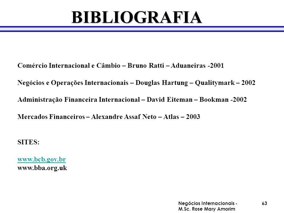 BIBLIOGRAFIA Comércio Internacional e Câmbio – Bruno Ratti – Aduaneiras -2001 Negócios e Operações Internacionais – Douglas Hartung – Qualitymark – 20