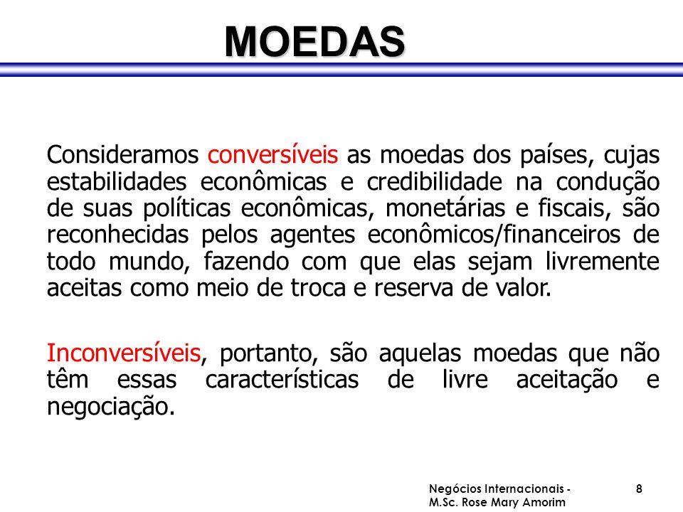 Consideramos conversíveis as moedas dos países, cujas estabilidades econômicas e credibilidade na condução de suas políticas econômicas, monetárias e