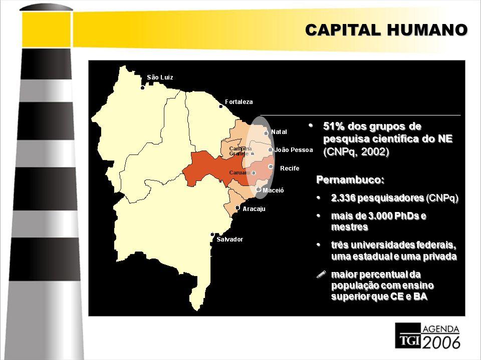 CAPITAL HUMANO Pernambuco: 2.336 pesquisadores (CNPq) 2.336 pesquisadores (CNPq) mais de 3.000 PhDs e mestres mais de 3.000 PhDs e mestres três univer