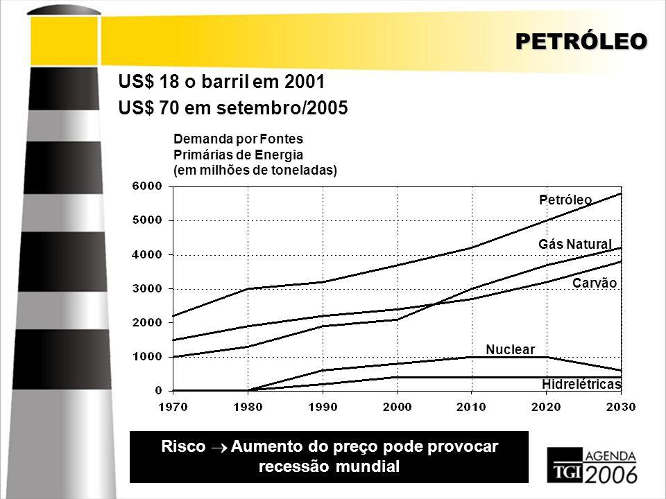 PETRÓLEO US$ 18 o barril em 2001 Risco  Aumento do preço pode provocar recessão mundial US$ 70 em setembro/2005 Demanda por Fontes Primárias de Energ