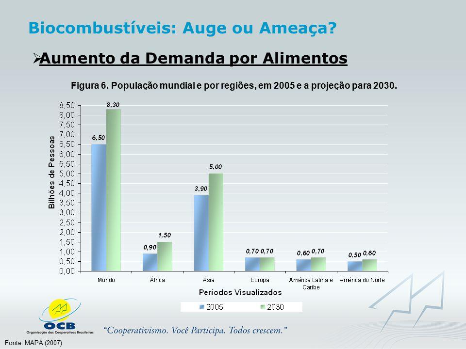  Aumento da Demanda por Alimentos Figura 6. População mundial e por regiões, em 2005 e a projeção para 2030. Fonte: MAPA (2007) Biocombustíveis: Auge