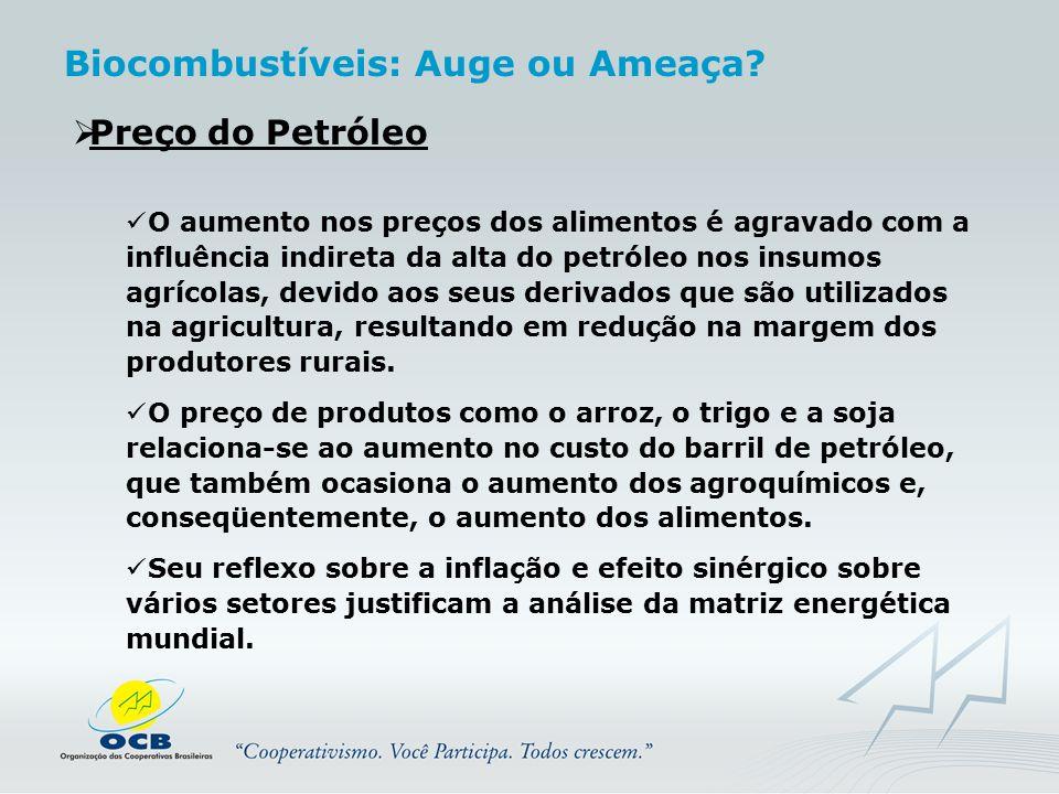  Preço do Petróleo O aumento nos preços dos alimentos é agravado com a influência indireta da alta do petróleo nos insumos agrícolas, devido aos seus