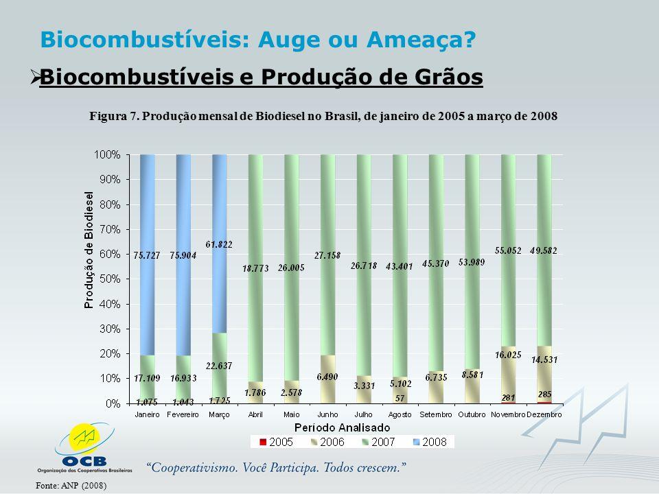  Biocombustíveis e Produção de Grãos Figura 7. Produção mensal de Biodiesel no Brasil, de janeiro de 2005 a março de 2008 Fonte: ANP (2008) Biocombus