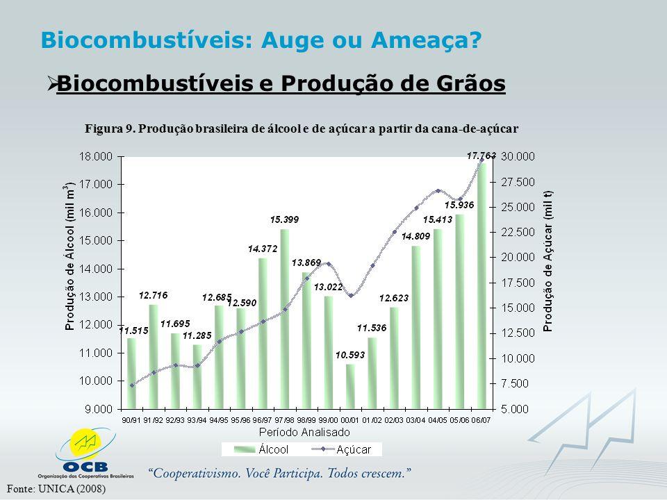  Biocombustíveis e Produção de Grãos Figura 9. Produção brasileira de álcool e de açúcar a partir da cana-de-açúcar Fonte: UNICA (2008) Biocombustíve