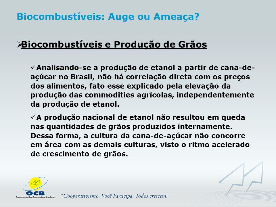  Biocombustíveis e Produção de Grãos Analisando-se a produção de etanol a partir de cana-de- açúcar no Brasil, não há correlação direta com os preços