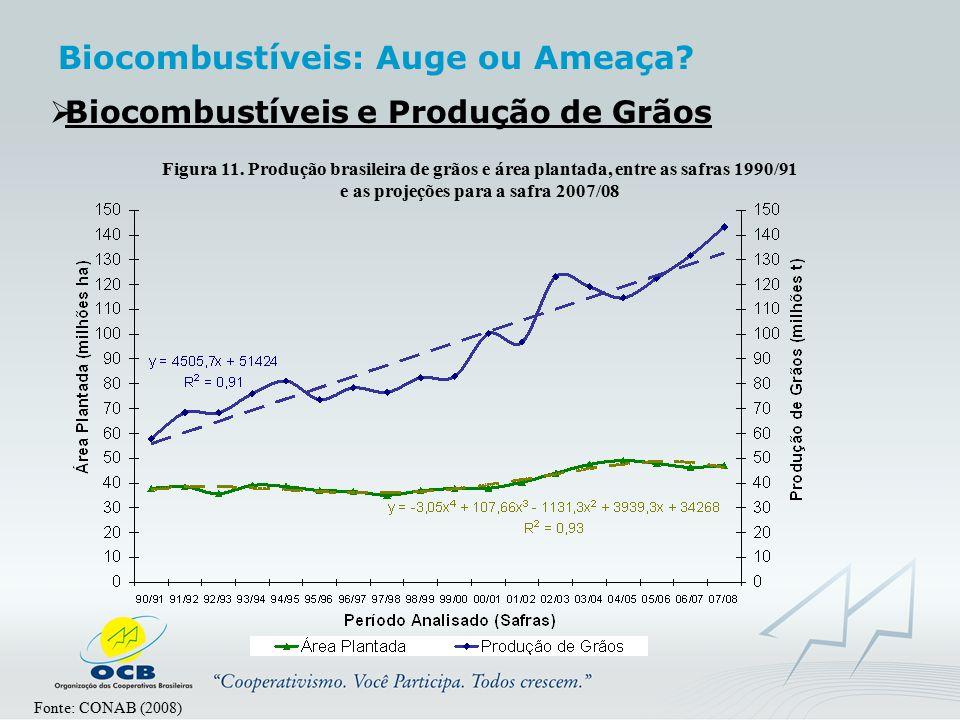  Biocombustíveis e Produção de Grãos Figura 11. Produção brasileira de grãos e área plantada, entre as safras 1990/91 e as projeções para a safra 200