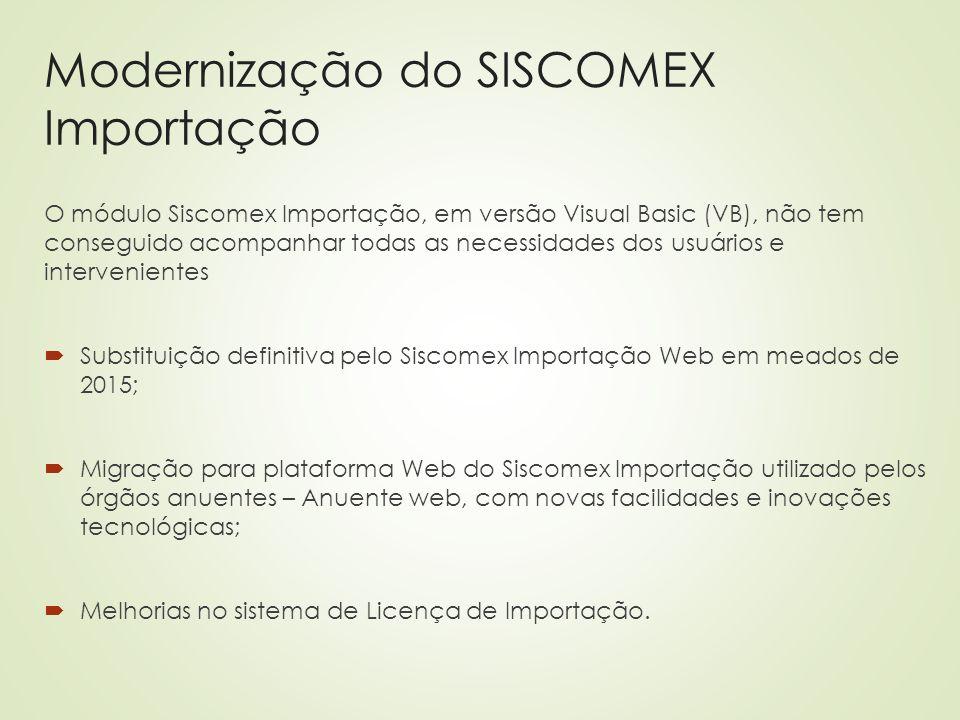 Modernização do SISCOMEX Importação O módulo Siscomex Importação, em versão Visual Basic (VB), não tem conseguido acompanhar todas as necessidades dos