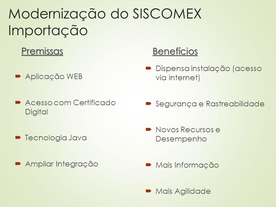 Modernização do SISCOMEX Importação Premissas  Aplicação WEB  Acesso com Certificado Digital  Tecnologia Java  Ampliar Integração Benefícios  Dis
