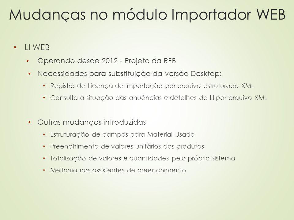 Mudanças no módulo Importador WEB LI WEB Operando desde 2012 - Projeto da RFB Necessidades para substituição da versão Desktop: Registro de Licença de