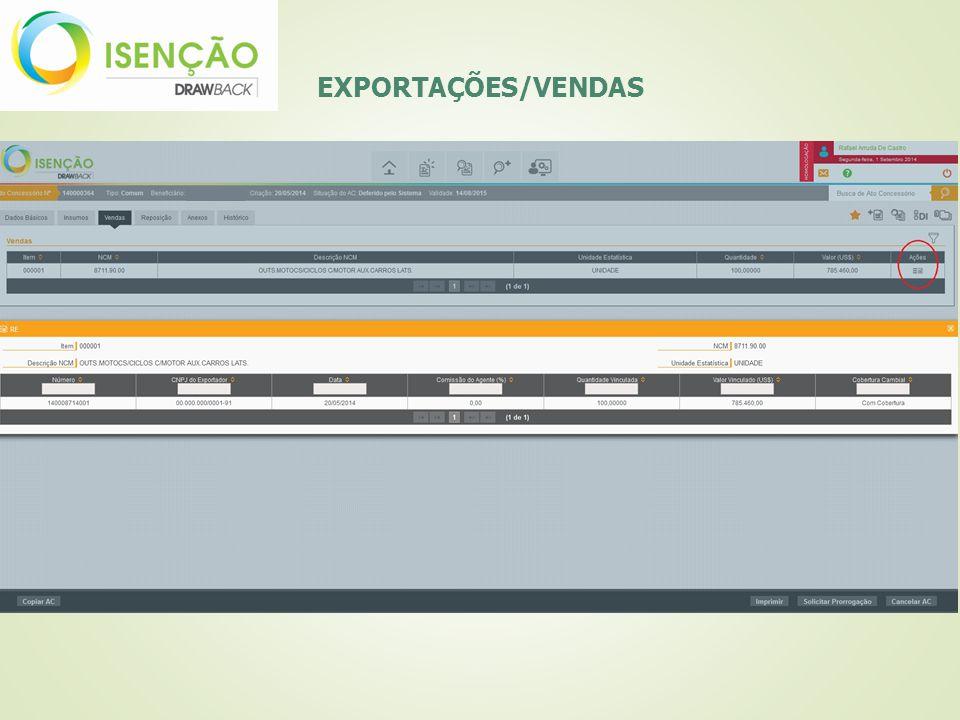 EXPORTAÇÕES/VENDAS