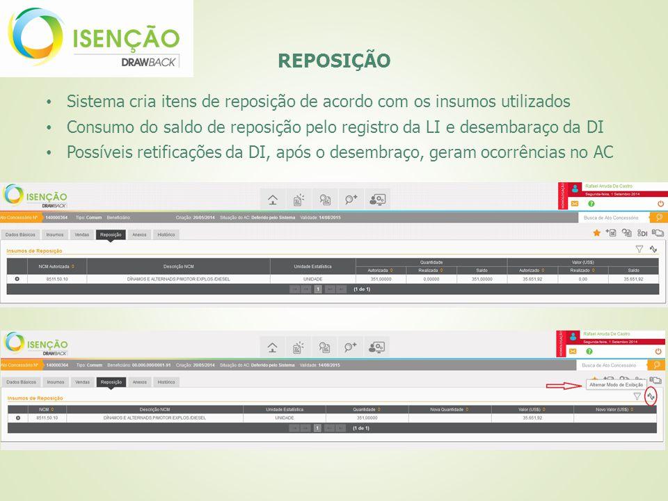 REPOSIÇÃO Sistema cria itens de reposição de acordo com os insumos utilizados Consumo do saldo de reposição pelo registro da LI e desembaraço da DI Po
