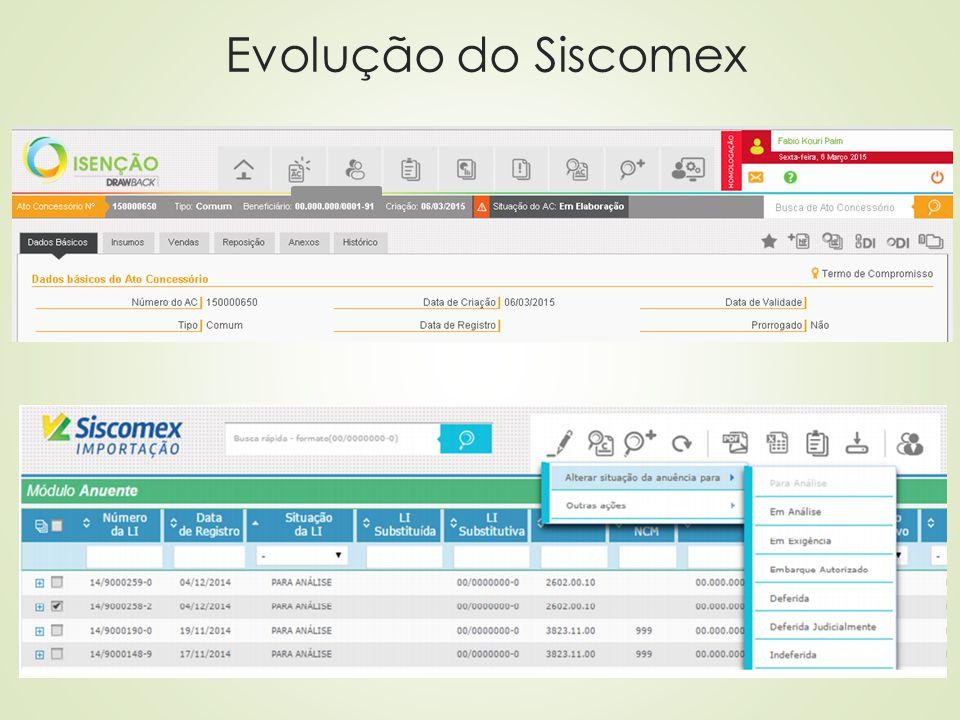 Modernização do SISCOMEX Importação O módulo Siscomex Importação, em versão Visual Basic (VB), não tem conseguido acompanhar todas as necessidades dos usuários e intervenientes  Substituição definitiva pelo Siscomex Importação Web em meados de 2015;  Migração para plataforma Web do Siscomex Importação utilizado pelos órgãos anuentes – Anuente web, com novas facilidades e inovações tecnológicas;  Melhorias no sistema de Licença de Importação.