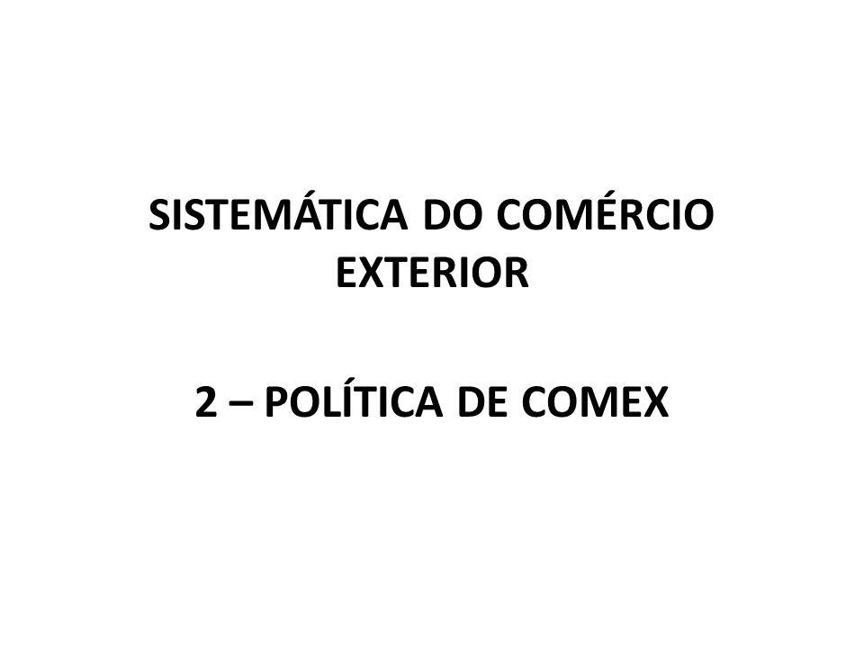 SISTEMÁTICA DO COMÉRCIO EXTERIOR 2 – POLÍTICA DE COMEX